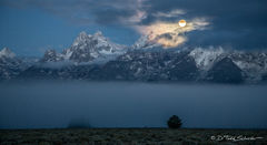 L0029, Wyoming, cold, moon, Grand Teton, mountains, Fall, frost, frosty, morning