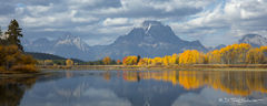 L0058, Wyoming, mountain, river, reflection, yellow, blue, aspen, Fall, Signature-Series